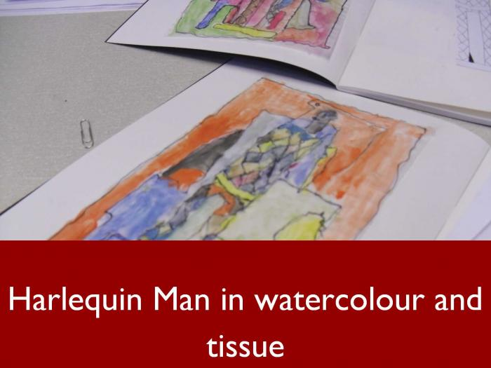 8 Harlequin Man in watercolour and tissue