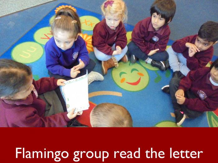 3 Flamingo group read the letter