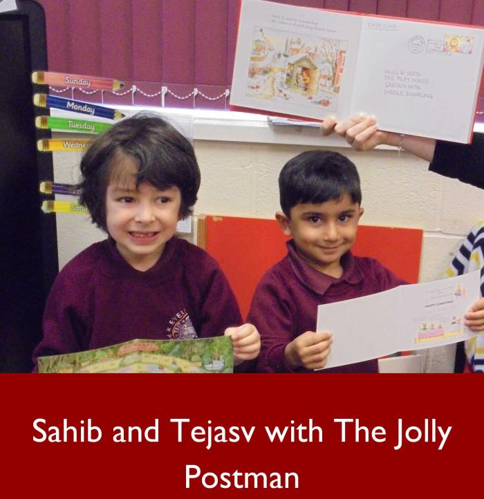 4 Sahib and Tejasv with The Jolly Postman