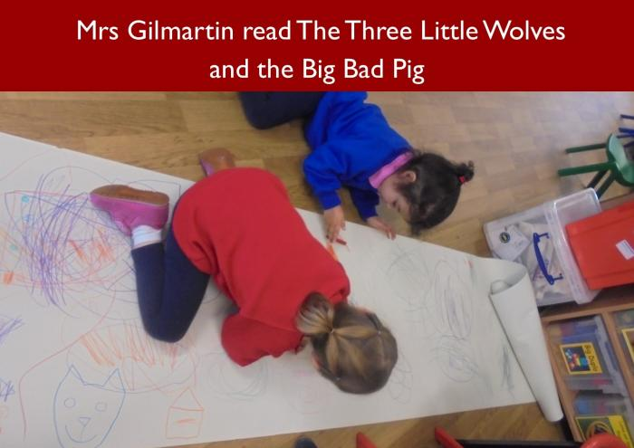 40 Mrs Gilmartin read The Three Little Wolves and the Big Bad Pig