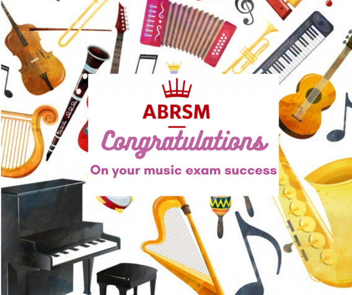 Congratulations on music exam with ABRSM