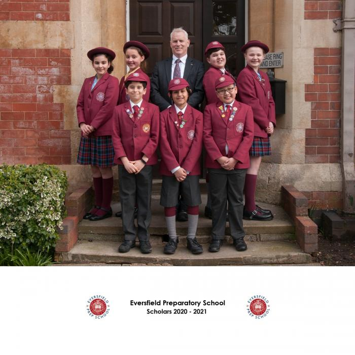 08 3353 Eversfield Prep Form 6 Scholars Group with Headmaster Mr Yates landscape