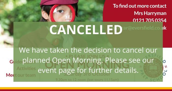 Open Morning Cancelled