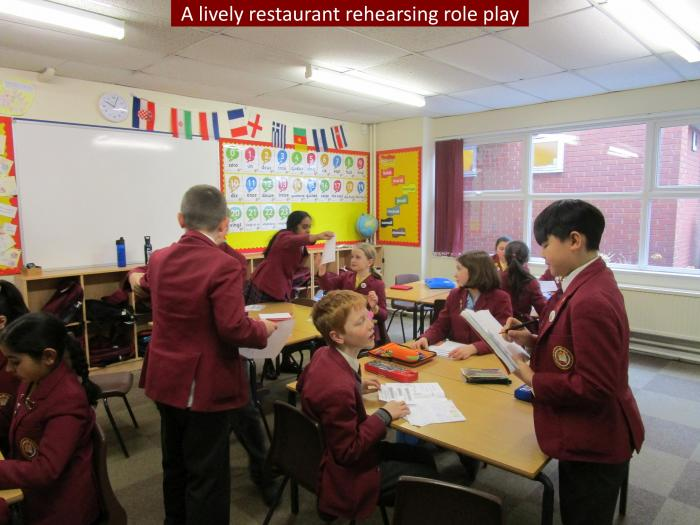 4 A lively classroom rehearsing role play