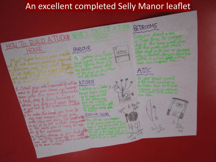 8 An excellent completed Selly Manor leaflet