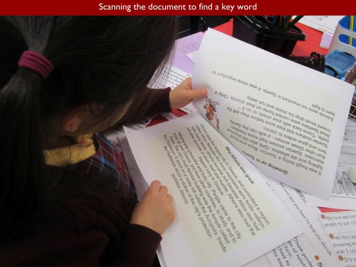 9 Scanning the document to find a key word